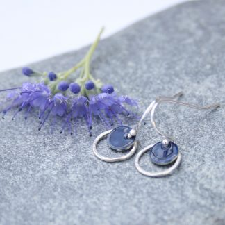Enamel and hoop drop earrings by Thistledown Wishes