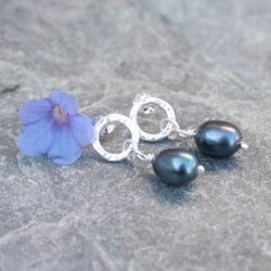 Sterling silver and pearl drop earrings by Thistledown Wishes