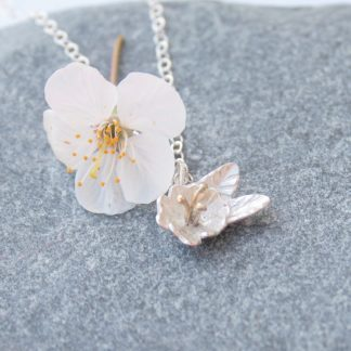 Silver cherry blossom necklace by Thistledown Wishes