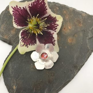 Flower shaped eco-silver and dichroic glass pendant