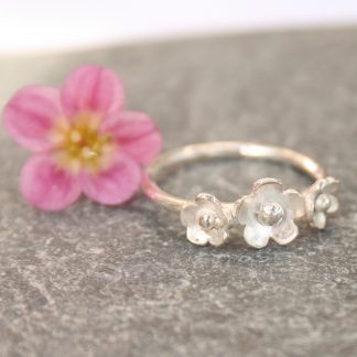 Triple flower silver ring by Thistledown Wishes