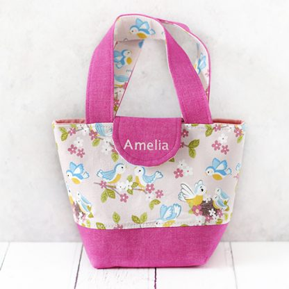 Pink toy tote bag with personalisation on flap