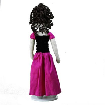 Back view of prom doll in pink dress