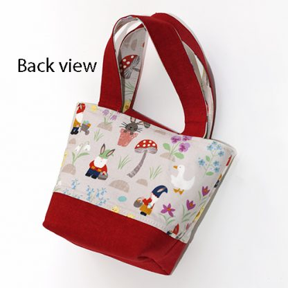 Back of toy tote bag in egg hunt fabric