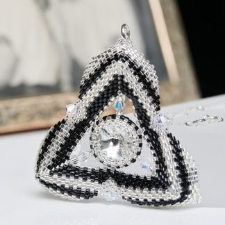 Silver and Black Triangular Pendant