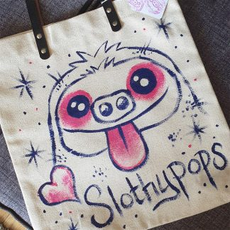 Slothypops the Sloth Hearts tote bag by Mel Langton Art