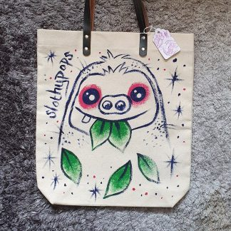 Slothypops the Sloth Leave Chomp tote bag by Mel Langton Art
