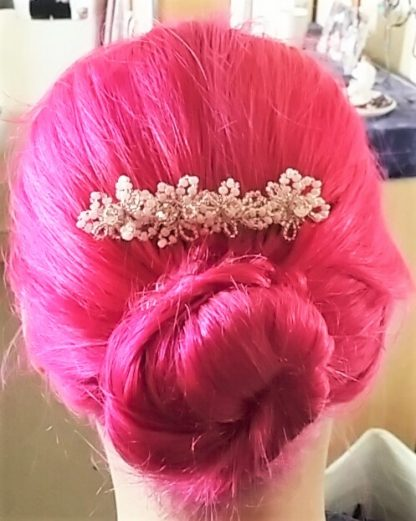 Silver and Pearl Flower Crystal Centred Bridal Hair Comb being worn