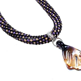 Handcrafted Basket Weave Kumihimo Necklace with Lampwork Pendant