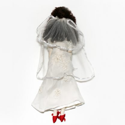 Rear view of bride doll