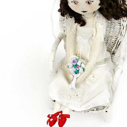 bride doll with her replica bouquet