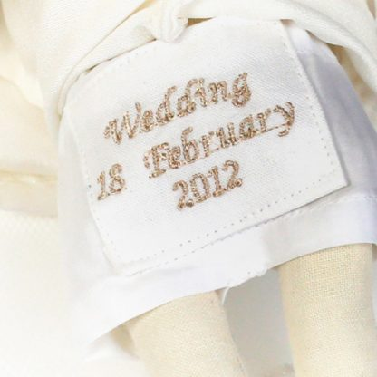 Embroidery on bride doll knickers