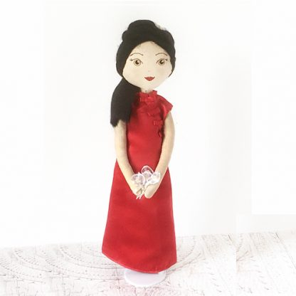 Front view of bridesmaid doll standing