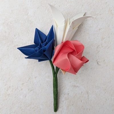 origami buttonhole 3 flowers