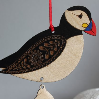 hanging puffin decoration wooden hand painted shell etchablelaserdesign