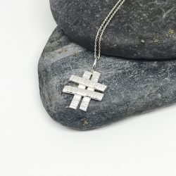 Textured silver hashtag necklace