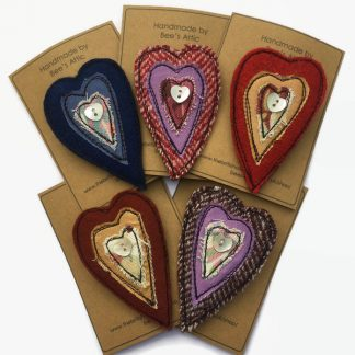 Fabric heart brooch