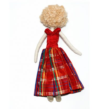 Back of prom doll in red dress