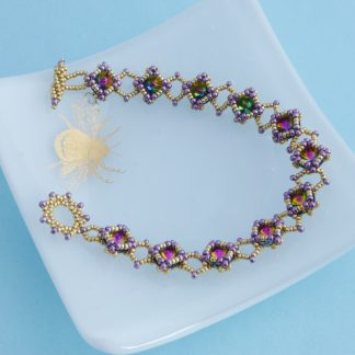 beadwork bracelet with rainbow effect crystals