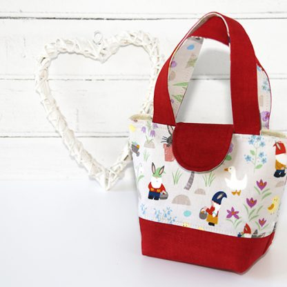 Toy tote bag in egg hunt fabric in red