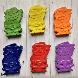 Father Christmas santa shaped wax crayons in rainbow colours