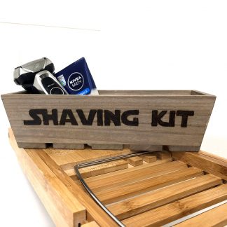 shaving kit wooden storage box