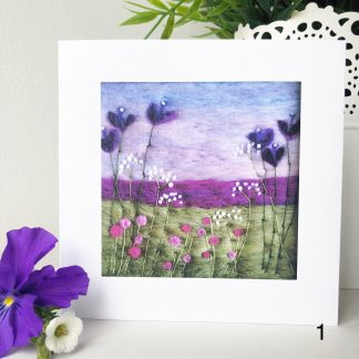 Square Printed card of Scottish Wool Art coastal landscape, purple pink and white floral