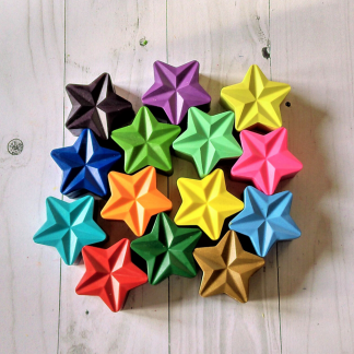 Star shaped wax crayons in a mixture of colours