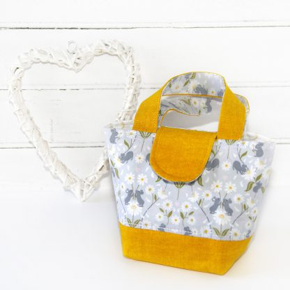 Child's yellow tote bag with daisies and mice