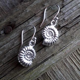 Silver hook earrings with a dangling silver ammonite fossil on each. Approximately 13mm