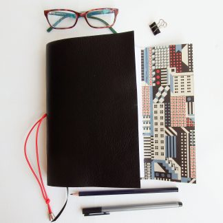 Black Leather Architecture Journal, A5 Size, Mallory Journals