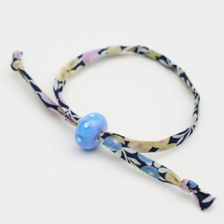 Dark blue and lilac liberty cord bracelet with periwinkle bead