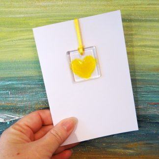 Fused glass greeting card with gift - yellow heart light catcher