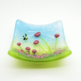 Pink flowers, fused glass trinket bowl