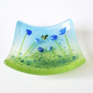 Blue flowers, fused glass trinket bowl, ring dish