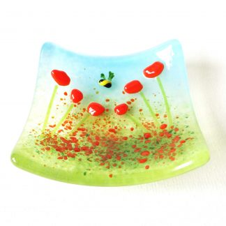 Orange flowers, fused glass trinket bowl, ring dish