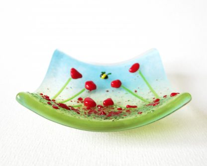 Red poppies, fused glass trinket bowl, ring dish