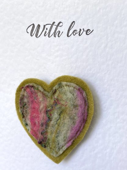 Heart Felt Brooch & Greeting Card. Letterbox Gift. Louise Hancox Textile Artist