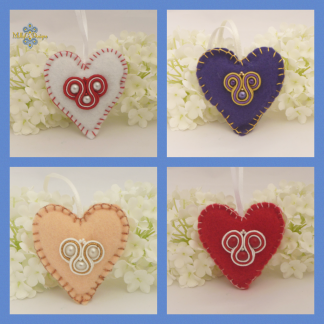 Felt embroidered heart gift. MollyG Designs soutache accessory
