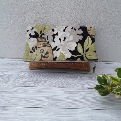 Clutch style handbag, foldover style in vegan cork and linen, leaves and flower print