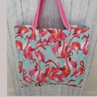 Stunning beach bag in bright pink flamingos fabric, large size, shopping bag, tote bag.