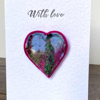 Heart Brooch & Greetings Card. Handmade Wet Felt. Louise Hancox textile Artist
