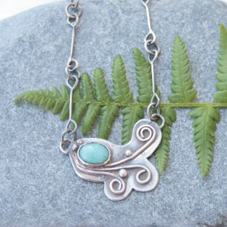 Sterling silver and gemstone necklace inspired by ferns by Thistledown Wishes