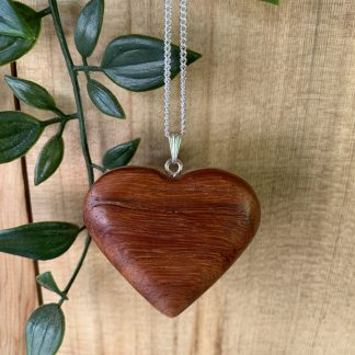 padauk wood heart pendant