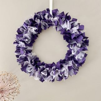 purple and white rag wreath