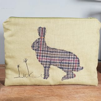 Applique hare on yellow linen zipped pouch
