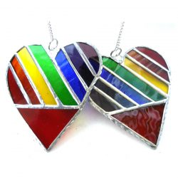 Rainbow daigonal heart stained glass suncatcher