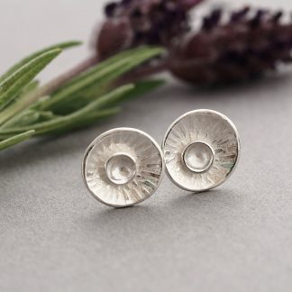 Rustic Sterling Silver textured sun burst concave disc stud earrings Made By Fee