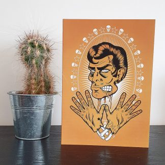 Zombie Greaser Rockabilly Greetings Card by Mel Langton Art