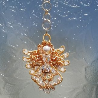 Gold Angel Suncatcher Wirework & Crystals